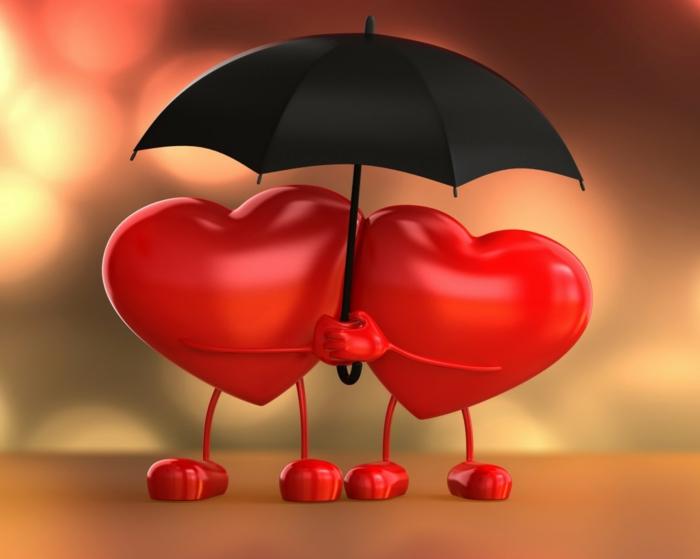 Hintergrundbilder Liebe - zwei rote Herzen stellen zwei Verliebten dar