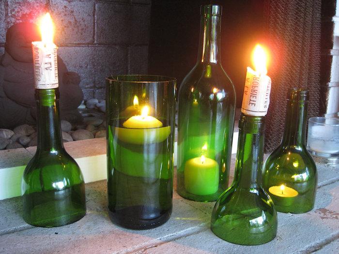 fünf diy lampen aus grünen glasflaschen und mit weißen kerzen - basteln mit glasflaschen