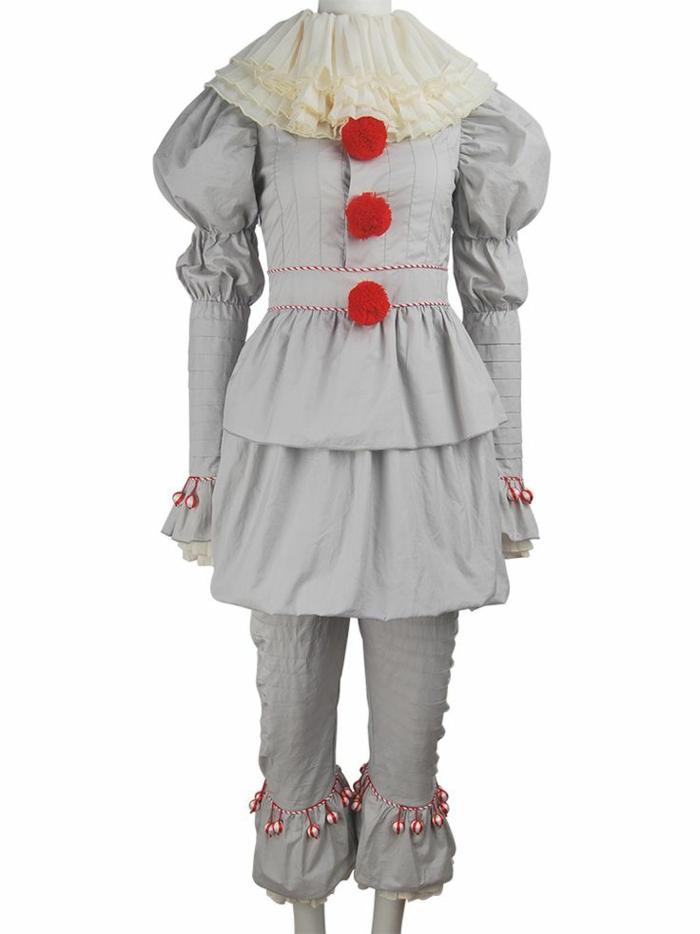 der Clown von Stephan Kings Film Es - Clown Kostüm Es, graues Kostüm mit Plissees und Puffärmeln und großem weißen Kragen