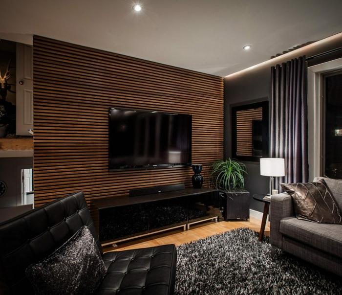 Wandblender, Fernsehwand, ein Wohnzimmer in grauer Farbe