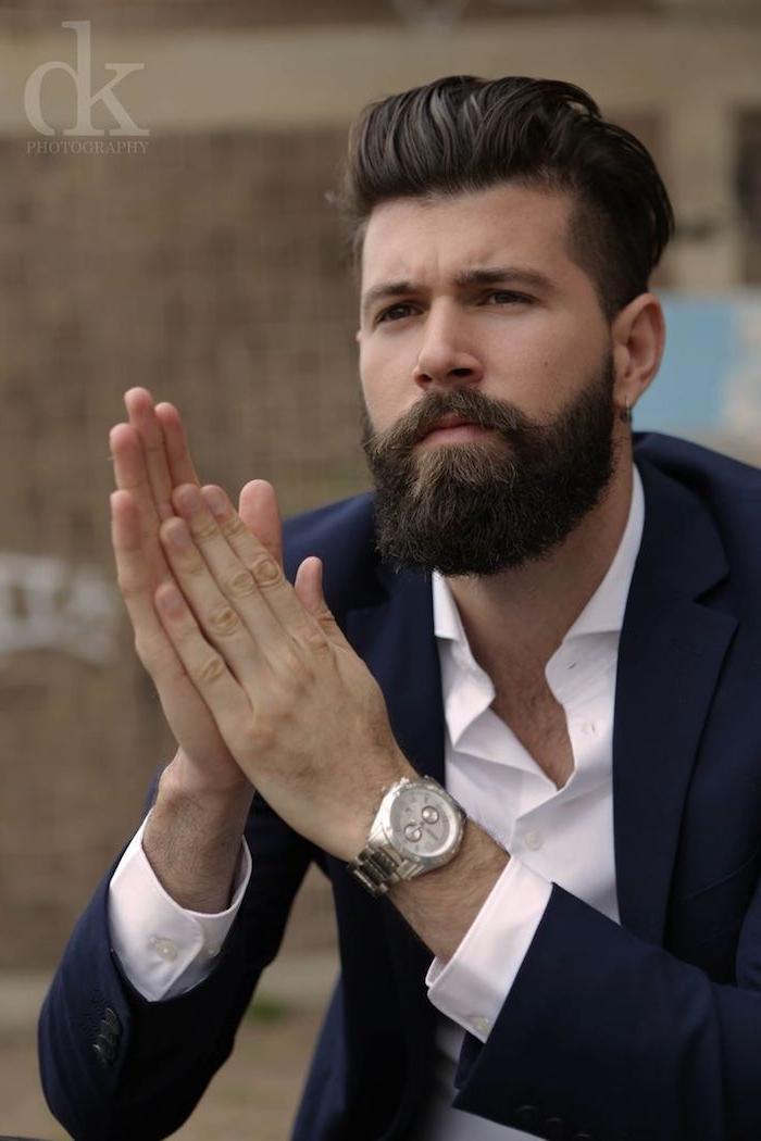 männer mit bart vollbart ideen mann elegant hipster mit anzug und armbanduhr weißes hemd model von calvin klein