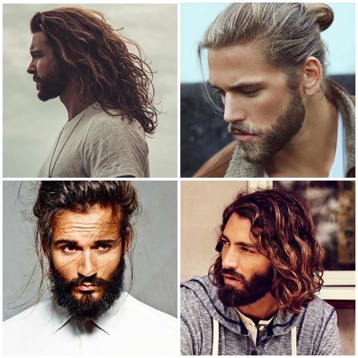 frisur lange haare, männer mit langen lockigen haaren, hipster bart