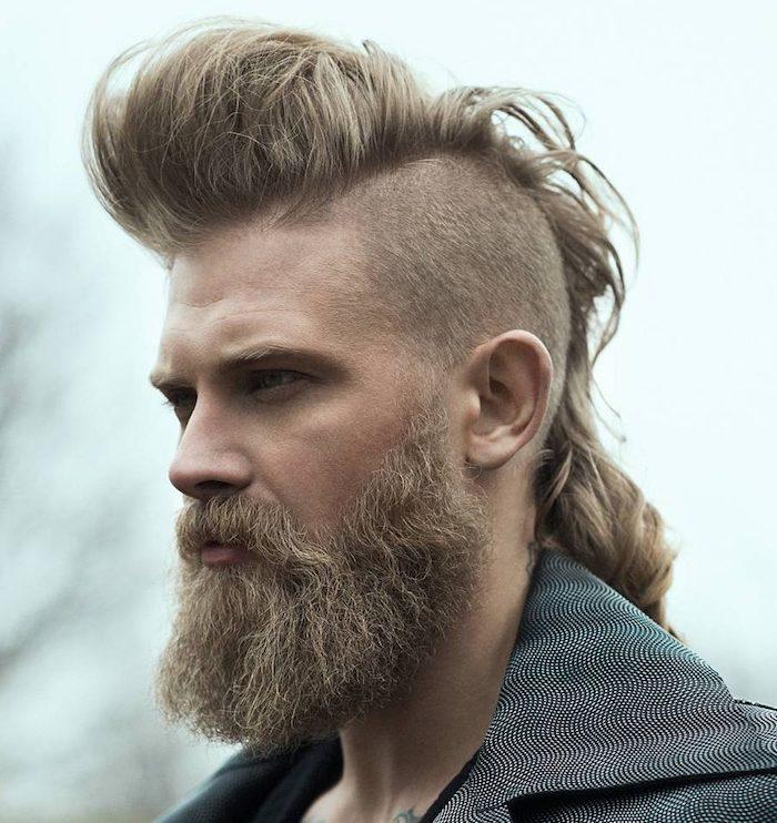 männer haarschnitt, mann mit hipster bart und trendiger frisur