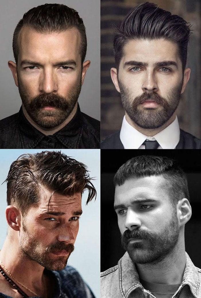Kinnbart und Moustache, drei Bartarten mit kurzen und mittellangen Haarfrisuren