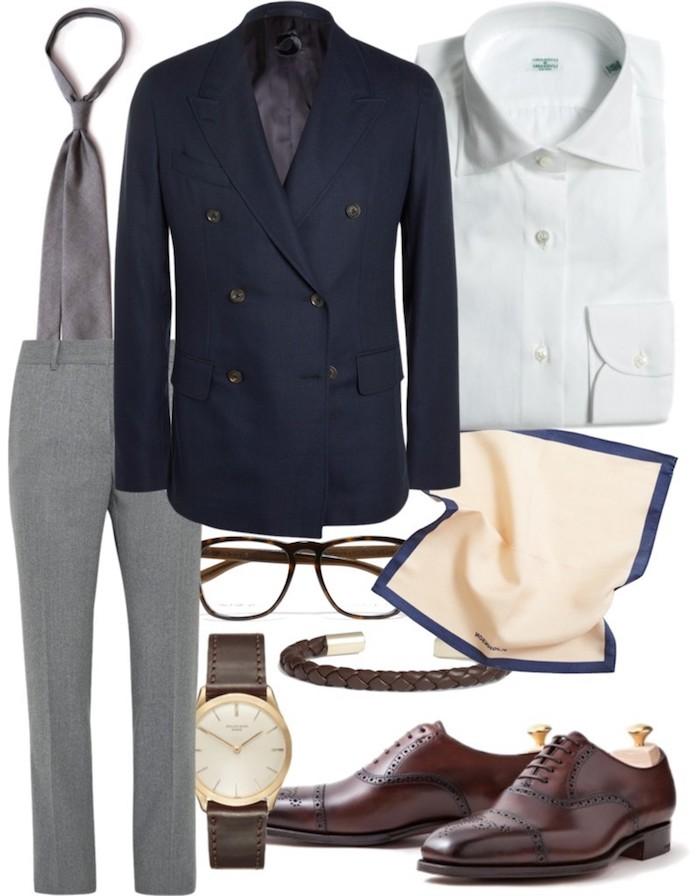 blauer anzug schuhe braune schuhe mit grauen hosen blauem blazer und weißes hemd brille