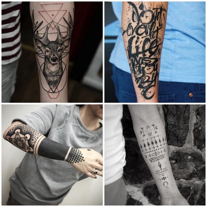 männer tattoos in schwarz und grau, hirsch mit geometrischen elementen, symbole