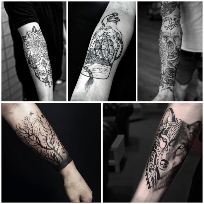 männer tattoos in schwarz und grau, baum mit vägel, schädel mit mandala motiven