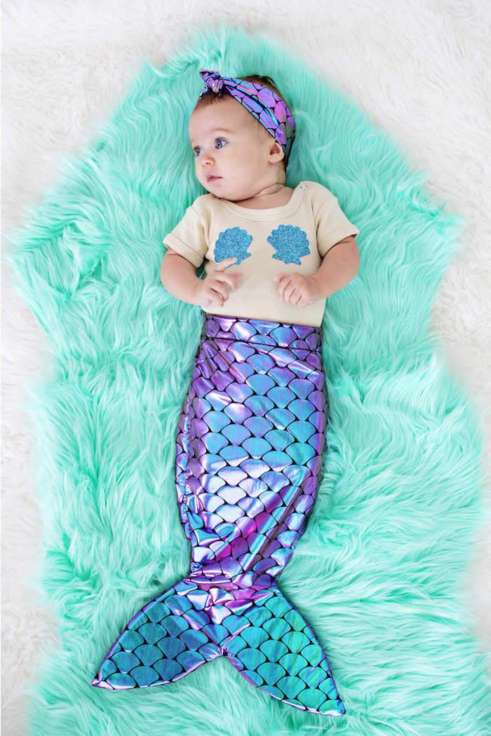 Meerjungfrau Kostüm für Babys, glänzender Schwanz und Muscheln