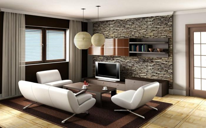 schlichtes Design von Wohnzimmer, grauer Wandverblender, Fliesen in Wohnzimmer
