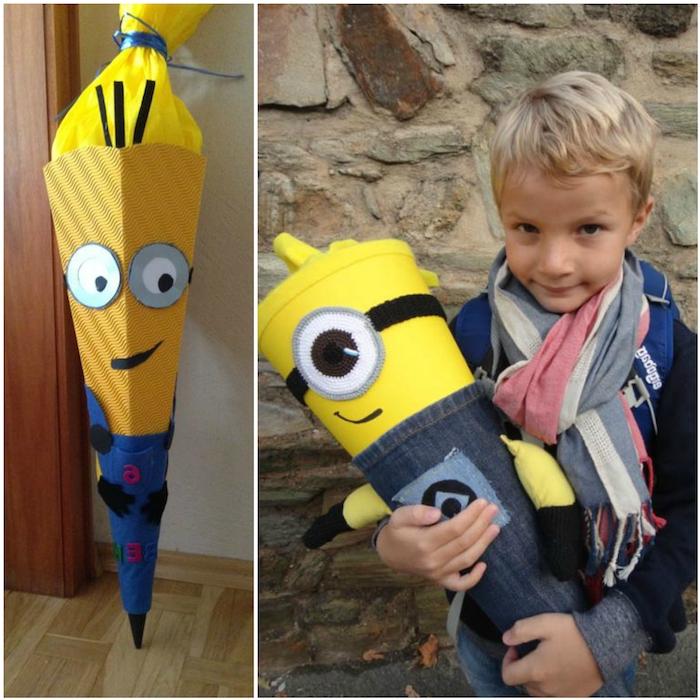 zwei bilder mit großen gelben minions schultüten - ein junge mit einer gelben schultüte und schal