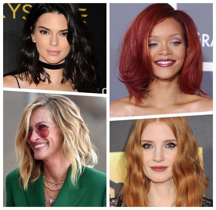 mittellange haare frisuren ideen, kenadel jenner, schulterlange haarschnitte, trendige haarfrisuren