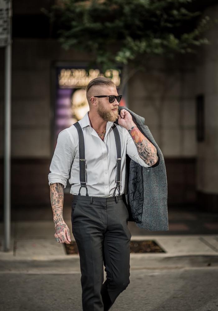 hipster style mit grauer anzug farbe ideen zum männer style hellgraues hemd dunkle hose hosenträger sakko