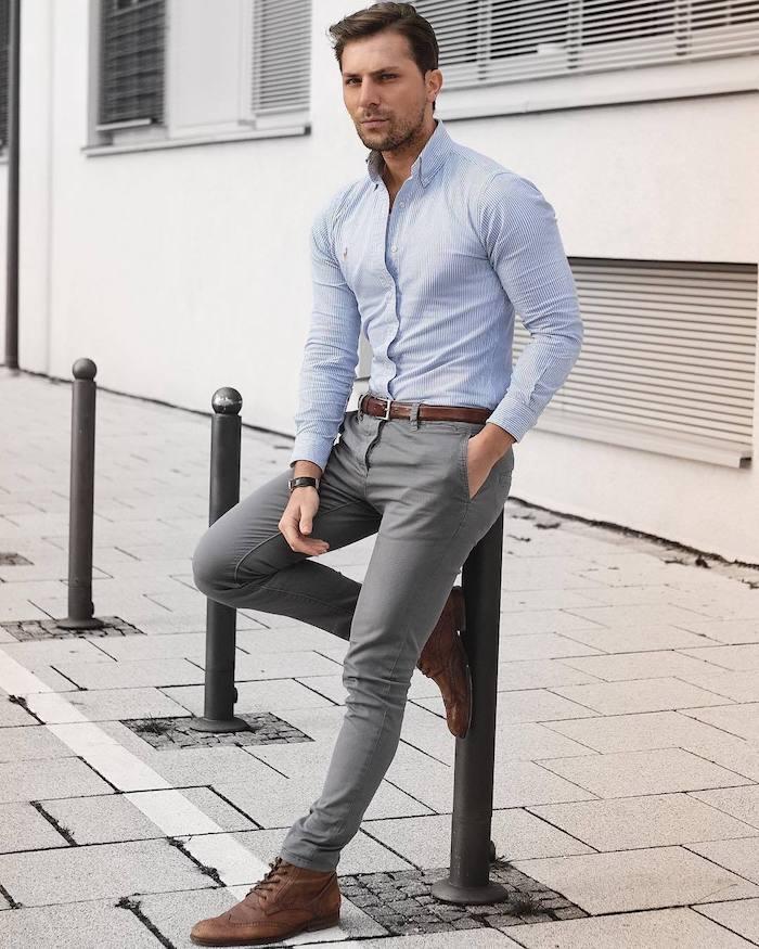 graue hose braune schuhe hellblaues hemd ideen zum perfekten styling männer mode