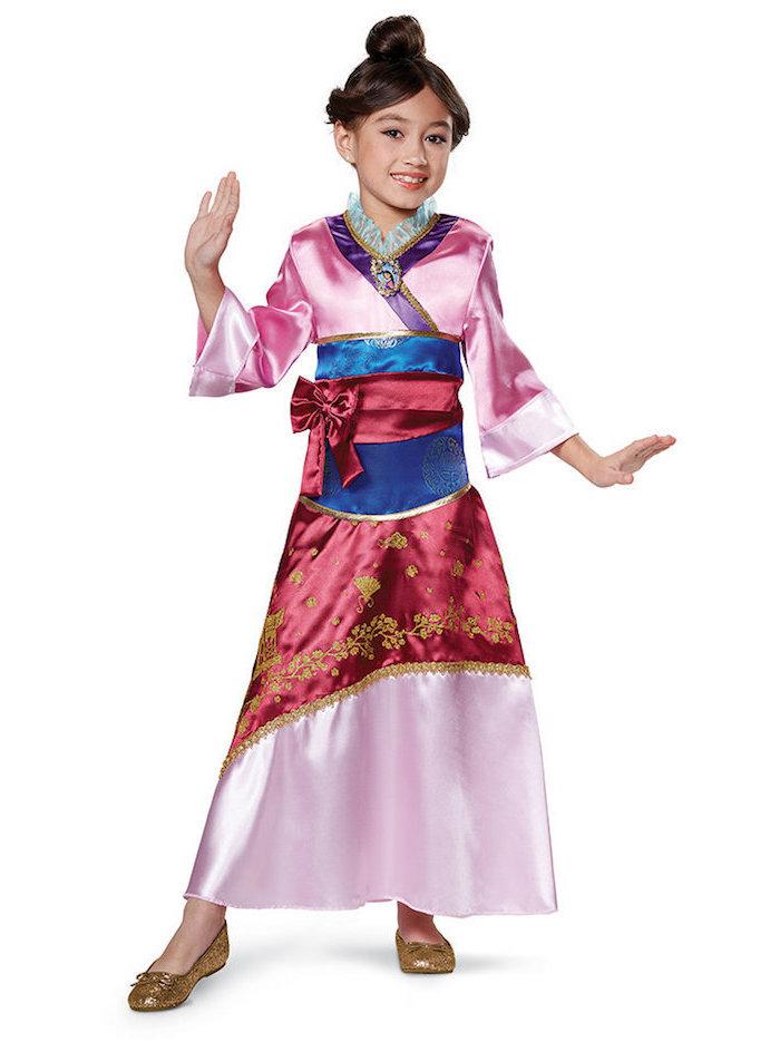 Mulan Kostüm für Fasching, bunter Kimono aus Satin, goldene Glitzer-Schuhe