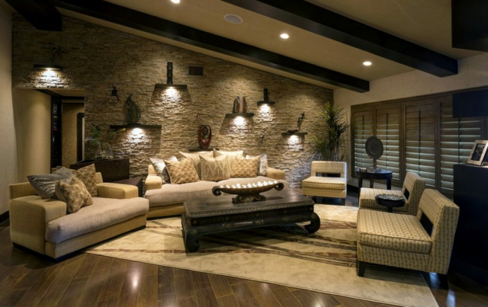 1001 ideen f r steinwand wohnzimmer zum inspirieren. Black Bedroom Furniture Sets. Home Design Ideas