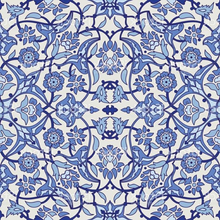 Muster für orientalische Stoffe und Fliesen, marokkanische Fliesen in zwei Blautönen und Weiß, Fliesen mit Blumenmotiven