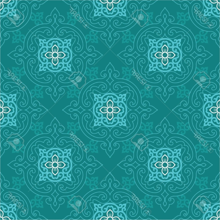 grüner Musterstoff mit Mandala-Ornamenten in Hellblau und Weiß, Stoff mit Print in drei Farben