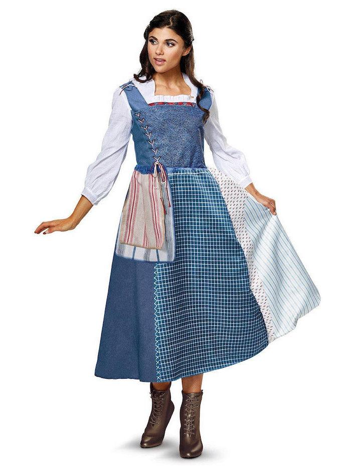 Disney Prinzessin Belle Kostüm für Fasching, karierter Rock, blaues Oberteil mit weißen Ärmeln