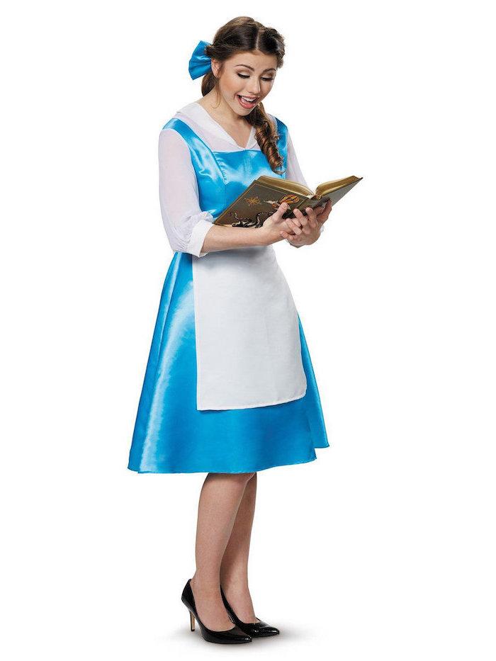 Disney Prinzessin Kostüm für Fasching, hellblaues Kleid mit weißer Schürze