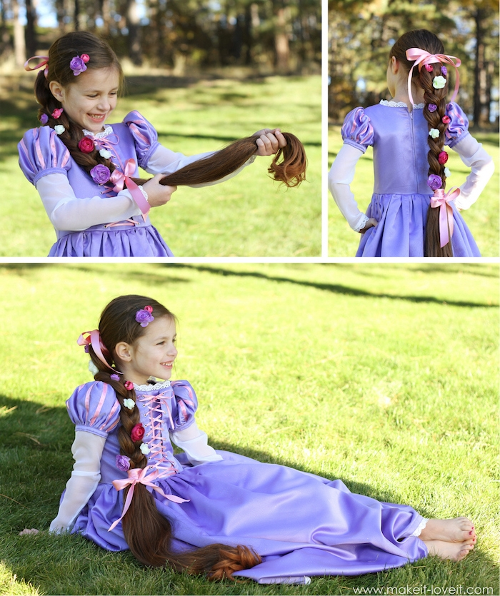 Rapunzel Kostüm für Fasching, lila langes Kleid mit Korsett, langer Zopf mit Blumen