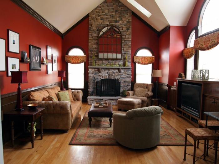 Wandverblender aus Naturstein, sonst rote Wände, vintage Einrichting mit gepolsterten Wohnzimmermöbel