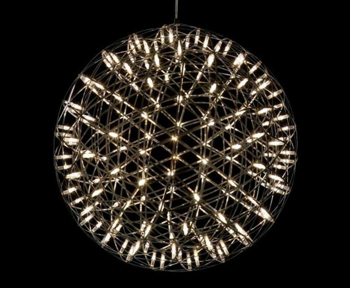 runde Hängelampe mit kleinen LED-Dioden, leuchternder Kugel mit futuristischem Design