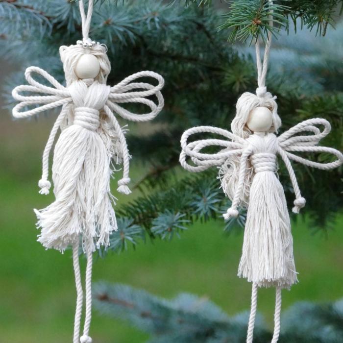 schöne engel basteln weihnachtsengel basteln aus garn zwei weiße engel basteln makramee weihnachtsdeko selber machen