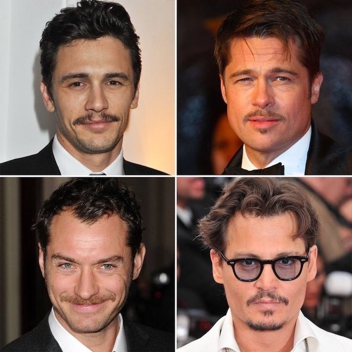 Kinnbart Arten von den Stars, mit Moustache, mittellange Haarfrisuren