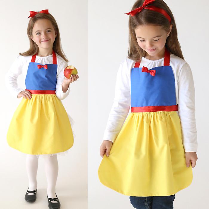 Schneewittchen Kostüm für Mädchen, Kleid in Gelb, Blau und Rot, weiße bluse