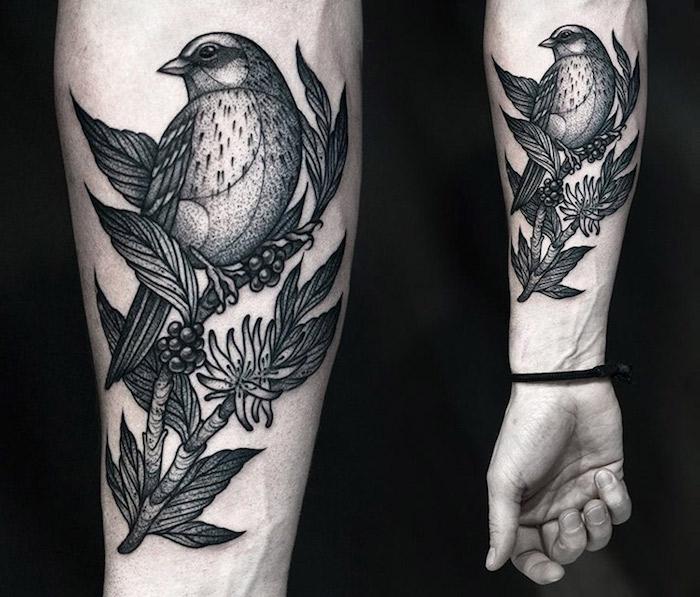 schöne tattoos, vogel am zweig, tätowierung mit vogel-motiv, blackwork
