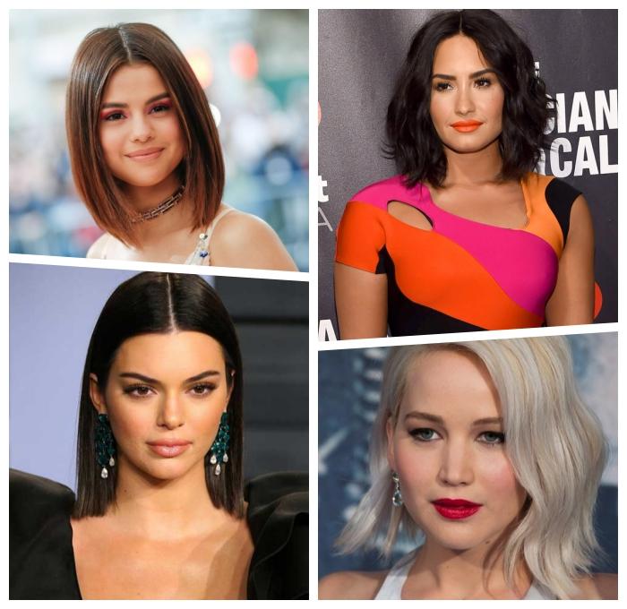 schulterlange haare stylen, gerader schnitt, sleek look, frisurenideen für rundes gesicht
