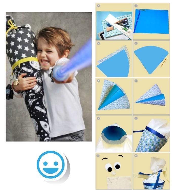 eine schritt für schtitt diy anleitung für eine blaue schultüte - ein junge mit einem star wars schwert - schultüte selber basteln