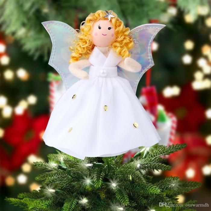 schutzengel selber basteln vorlage weihnachten deko schöne engel basteln anleitung weiße engel aus stoff und garn