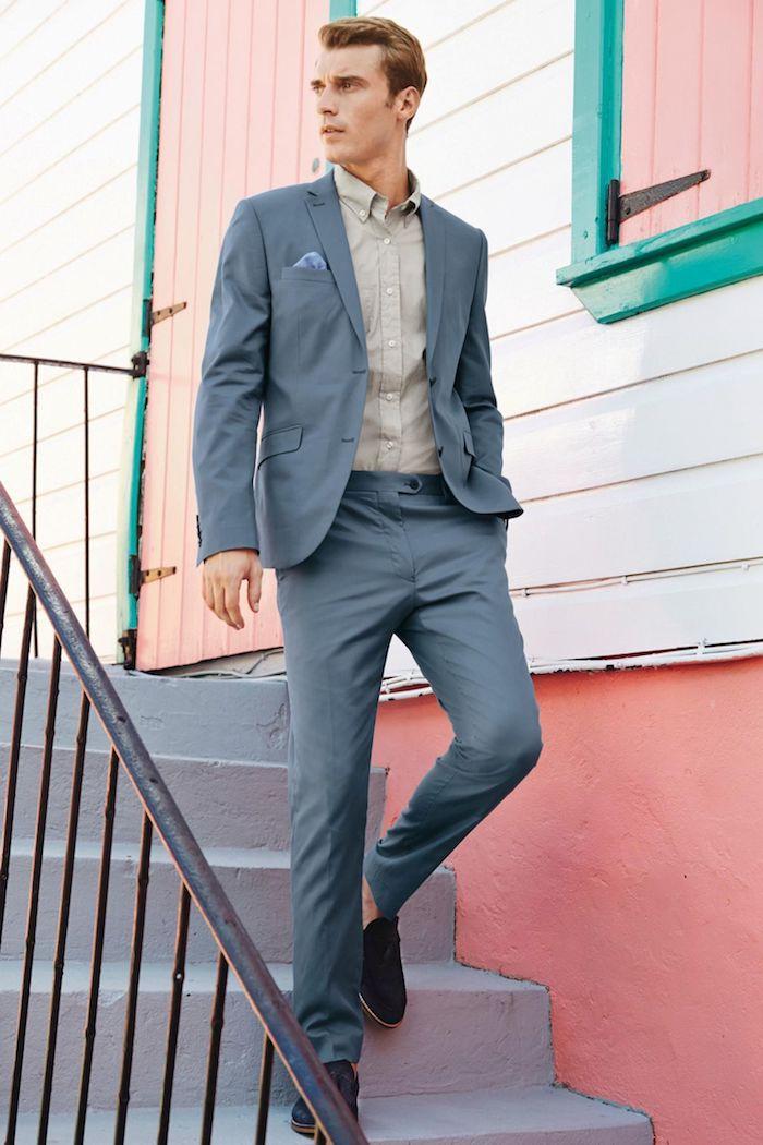 hemd unter pullover und sakko darüber retro look von männern beige grau, blau und braun kombinationen