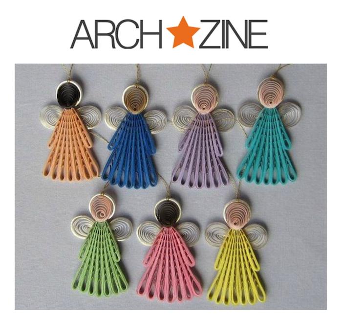 kleine quilling engel aus papier basteln - grüne, violette, orange, blaue und pinke engel mit weißen flügeln
