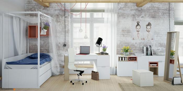 Mädchenbett mit Baldachin und Kasten, Wandregale aus Hold, Wandtapete mit Ziegel-Muster, Spiegel mit Stand, Mädchenzimmer mit weißen Möbeln