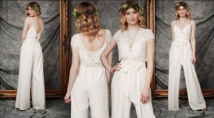 eine model für einen jumpsuit festlich anziehen ideen zum styling der jungen damen blonde haaren lockig