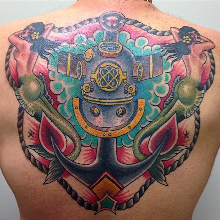 symbol anker, große farbige tötowierung am rücken, männer tattoos
