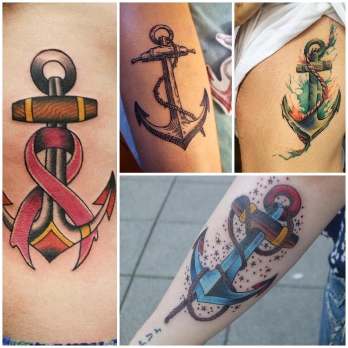 tattoo erinnerung, realistische tötowierungen mit anker-motiv
