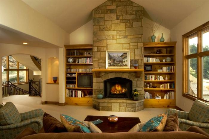 ein nach Feng Shui geornetes Zimmer mit zwei Bücherregale, und Wandverblender aus Stein