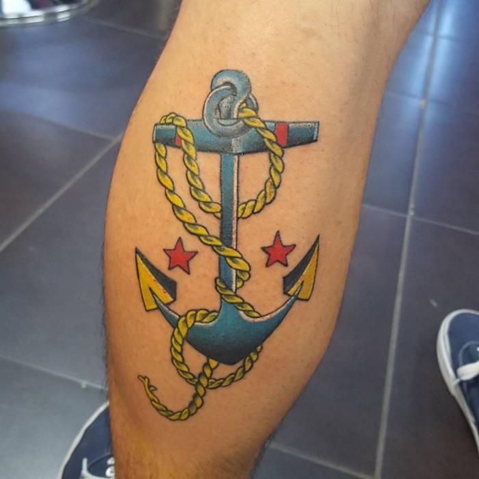 symbol anker, anker mit sterne, farbige tötowierung, bein tattoo
