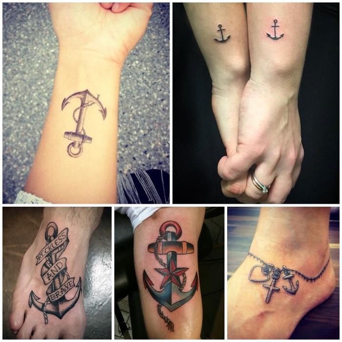 tattoo erinnerung, geschwister tattoo mit maritimem motiv, fuß tattoos