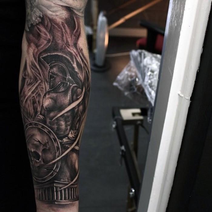 tattoo muster, 3d-tätowierung in schwarz und grau, roman mit schwerer ausrüstung