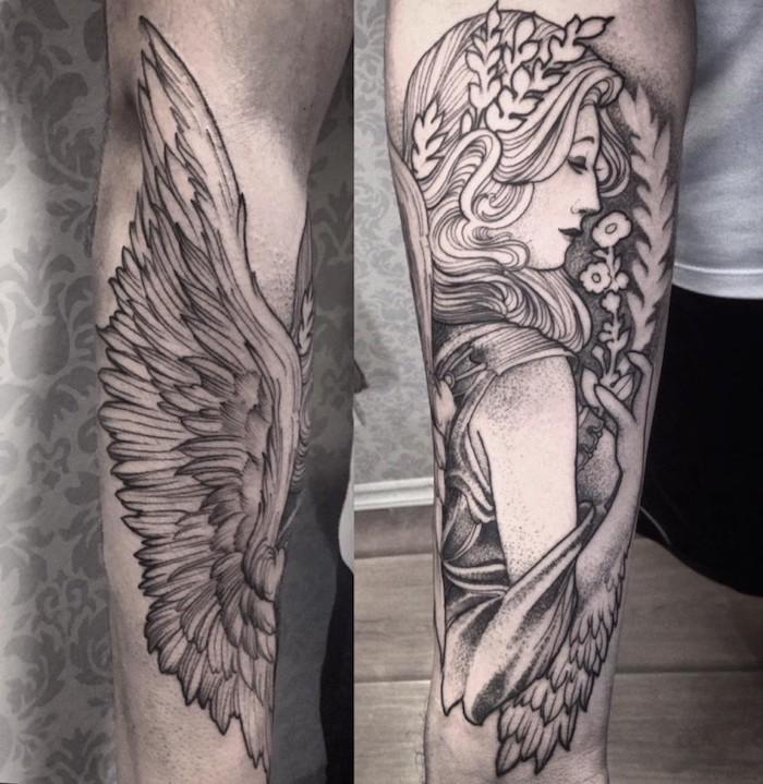 tattoo muster, frau mit flügeln und kopfschmuck mit blättern, gottheit