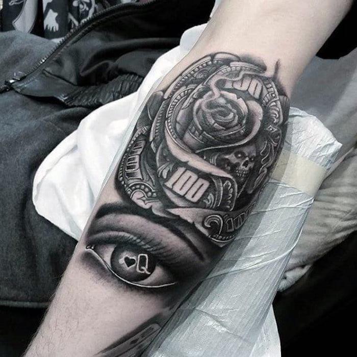tattoo muster, große rose in kombination mit frauenauge, arm