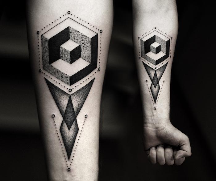 tattoo muster, tätowierung mit geometrischen motiven, blackwork