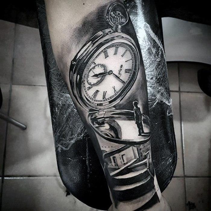 tattoo uhr, 3d-tätowierung in schwarz und grau, uhr mit junge