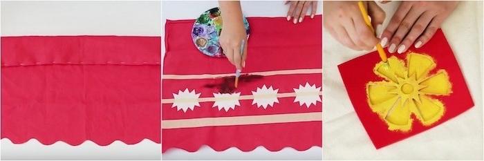 Vaiana Kostüm selber machen, Schritt-für-Schritt-Anleitung, Blumen mit Schablone zeichnen
