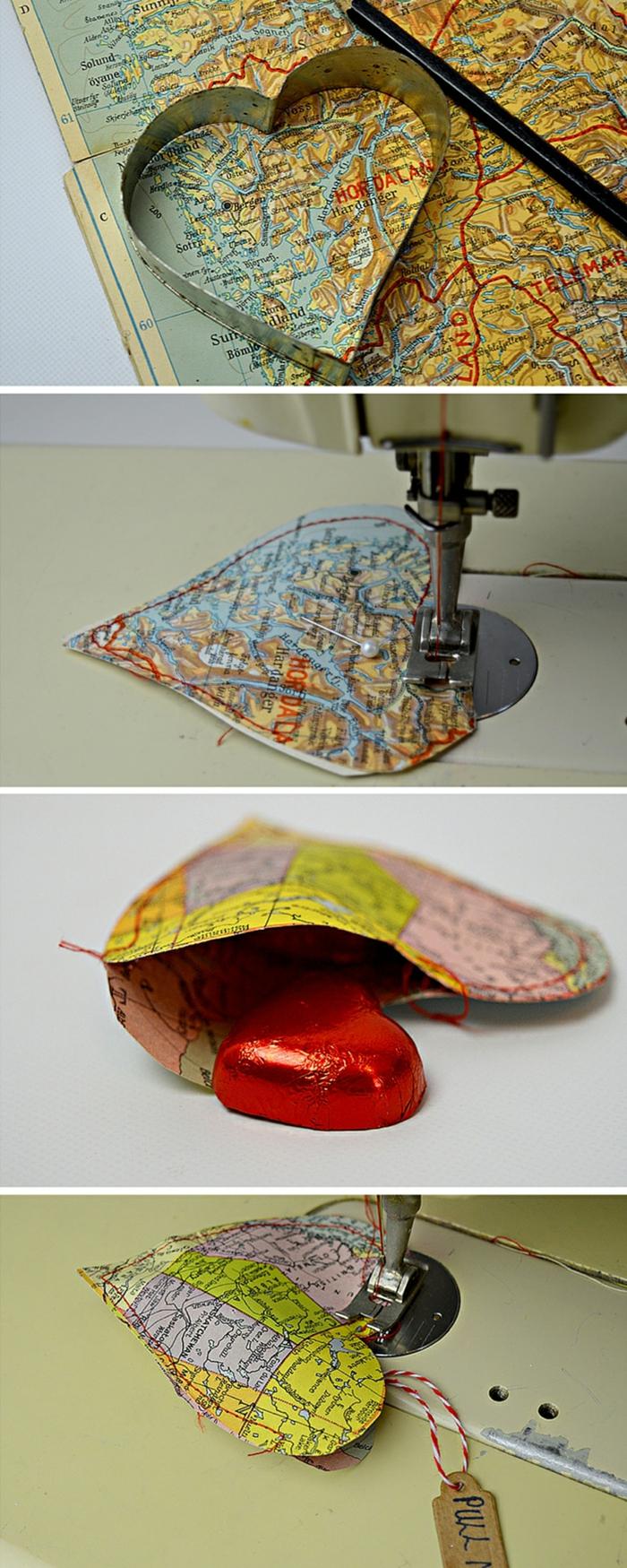 DIY Geschenkidee zum Valentinstag, Herz aus Karte ausschneiden, nähen und mit Pralinen füllen