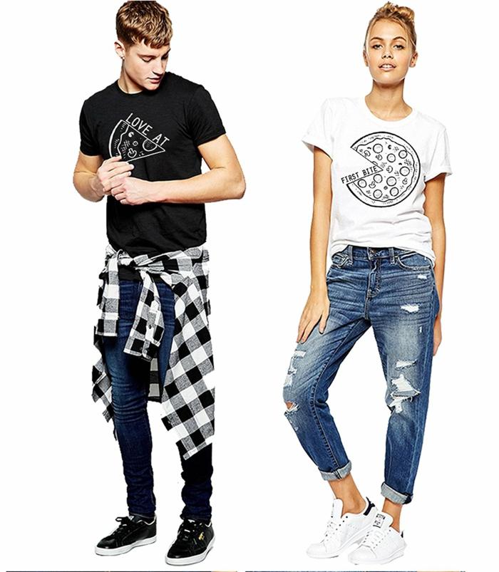 Shirts für Paare, weißes für sie, schwarzes für ihn, mit lustigen Aufschriften und Bildern, coole Ideen für Valentinstagsgeschenke